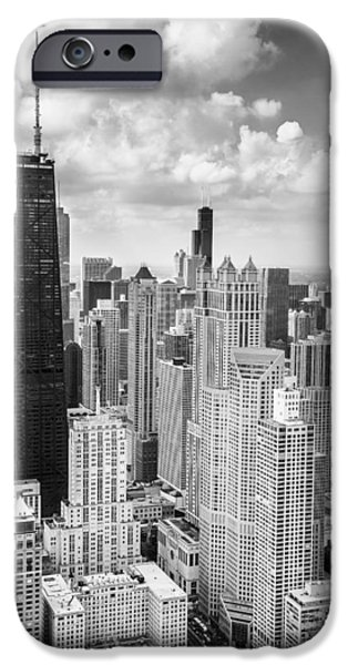 Sears Tower iPhone Cases - John Hancock Building in the Gold Coast Black and White iPhone Case by Adam Romanowicz