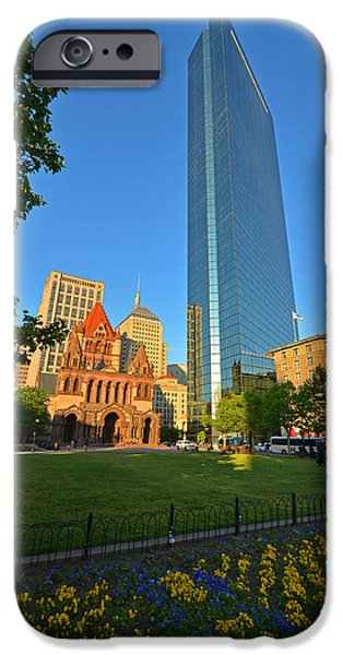 Boston Ma Digital iPhone Cases - John Hancock Tower Boston MA iPhone Case by Toby McGuire