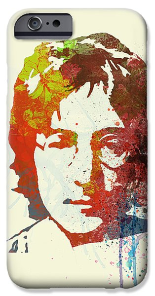 Band Paintings iPhone Cases - John Lennon iPhone Case by Naxart Studio