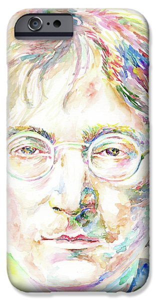 Mick Jagger Paintings iPhone Cases - John Lennon iPhone Case by Marina Sotiriou