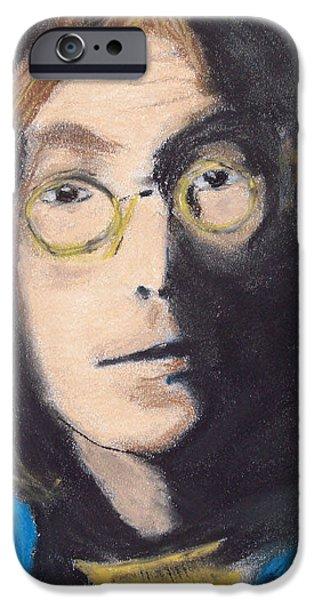 Photo Manipulation Drawings iPhone Cases - John Lennon Pastel iPhone Case by Jimi Bush