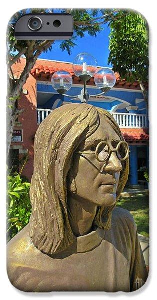 Beatles Sculptures iPhone Cases - John Lennon Statue Closeup iPhone Case by John Malone
