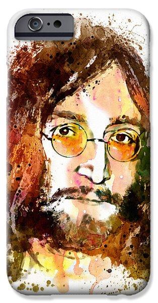 Beatles iPhone Cases - John Lennon Watercolor Portrait iPhone Case by Marian Voicu