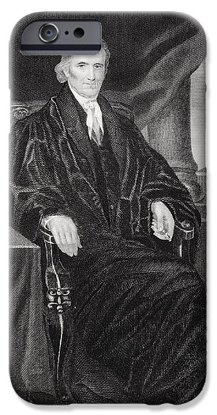 Politician iPhone Cases - John Marshall 1755-1835. American iPhone Case by Ken Welsh