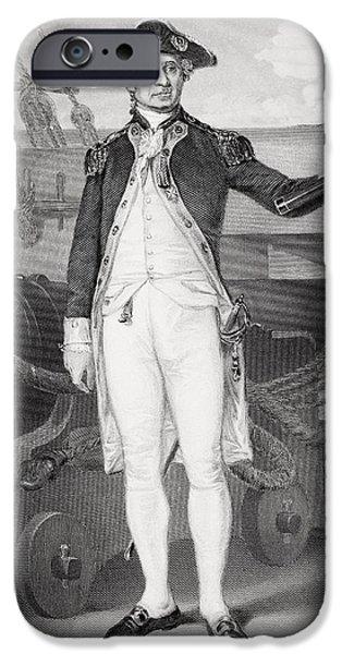 American Revolution iPhone Cases - John Paul Jones 1742-1792. American iPhone Case by Ken Welsh