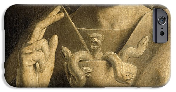 Snake Drawings iPhone Cases - John the Apostle detail from the Ghent Altarpiece iPhone Case by Van Eyck