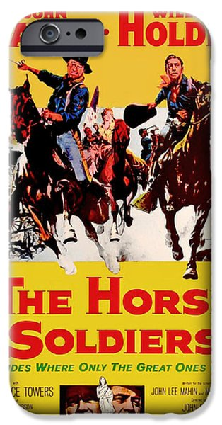 1950s Movies Mixed Media iPhone Cases - John Wayne and William Holden in The Horse Soldiers 1959 iPhone Case by Mountain Dreams