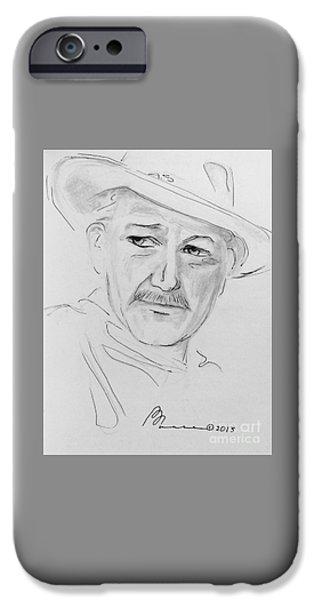 John Wayne Drawings iPhone Cases - John Wayne iPhone Case by Barbara Chase
