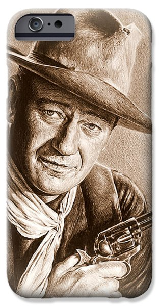 John Wayne Drawings iPhone Cases - John Wayne sepia frosted iPhone Case by Andrew Read