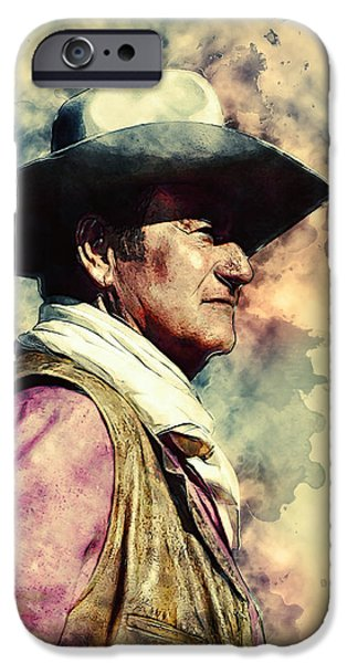 Recently Sold -  - Figures iPhone Cases - John Wayne iPhone Case by Taylan Soyturk