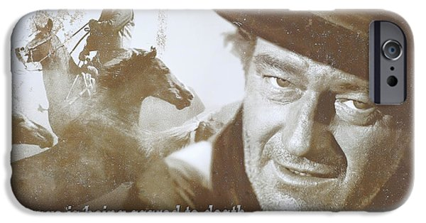 Celebrities Photographs iPhone Cases - John Wayne - The Duke iPhone Case by Donna Kennedy