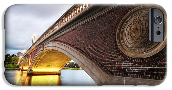 Charles Bridge Digital iPhone Cases - John Weeks Bridge Charles River Harvard Square Cambridge MA iPhone Case by Toby McGuire