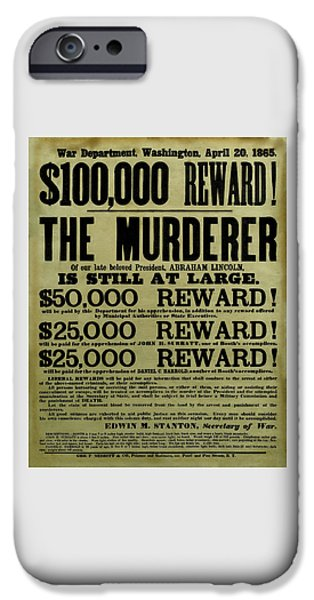 History Mixed Media iPhone Cases - John Wilkes Booth Wanted Poster iPhone Case by War Is Hell Store