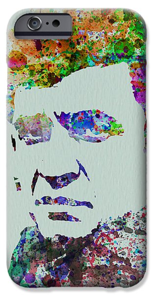 Johnny iPhone Cases - Johnny Cash Watercolor 2 iPhone Case by Naxart Studio