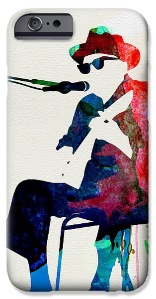 Classical Music iPhone Cases - Johnny Lee Hooker Watercolor iPhone Case by Naxart Studio
