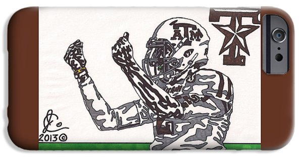 Texas Drawings iPhone Cases - Johnny Manziel 10 Change The Play iPhone Case by Jeremiah Colley