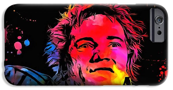 The Sun God iPhone Cases - Johnny Rotten Paint Splatter iPhone Case by Dan Sproul