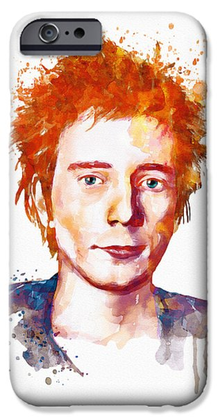 Red Rock Mixed Media iPhone Cases - Johnny Rotten Watercolor iPhone Case by Marian Voicu