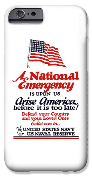 Navy iPhone Cases - Arise America Before It Is Too Late - Join The Navy iPhone Case by War Is Hell Store