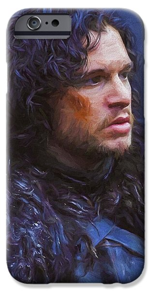 Celebrities Art iPhone Cases - Jon Snow III - Game Of Thrones iPhone Case by Nikola Durdevic