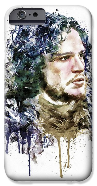 Face Mixed Media iPhone Cases - Jon Snow watercolor iPhone Case by Marian Voicu