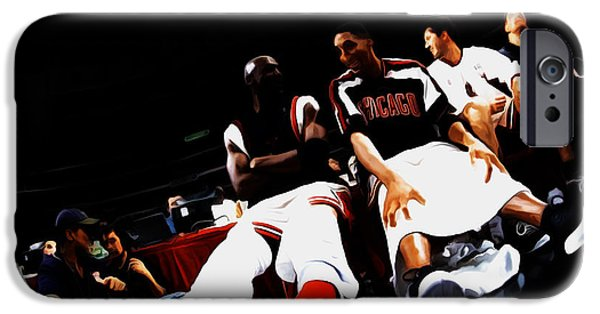 Charles Barkley iPhone Cases - Jordan and Pippen Last Stand iPhone Case by Brian Reaves