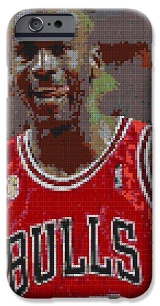 Jordan iPhone Cases - Jordan Lego Mosaic iPhone Case by Paul Van Scott