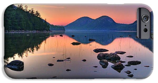 Jordan iPhone Cases - Jordan Pond at Sunset iPhone Case by Thomas Schoeller