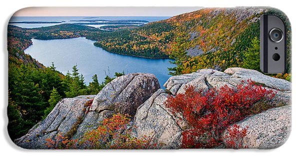 Fall Foliage iPhone Cases - Jordan Pond Sunrise  iPhone Case by Susan Cole Kelly