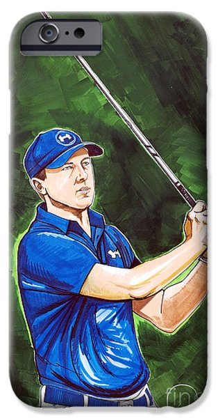 Professional Golf iPhone Cases - Jordan Spieth 2015 Masters Champion iPhone Case by Dave Olsen