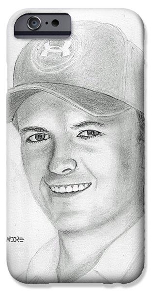 Us Open Drawings iPhone Cases - Jordan Spieth iPhone Case by Pat Moore