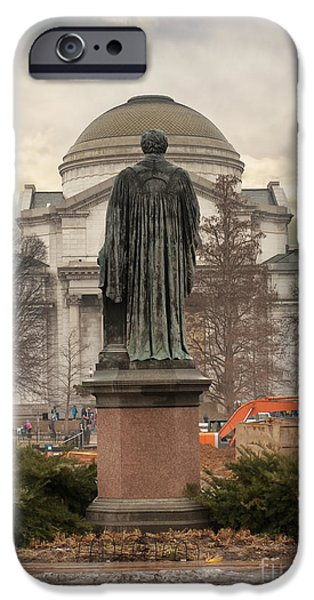 Smithsonian iPhone Cases - Joseph Henry statue iPhone Case by Debra Millet
