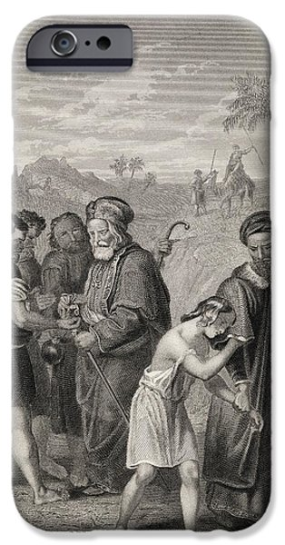 Religious Drawings iPhone Cases - Joseph Sold By His Brother Engraved By iPhone Case by Ken Welsh