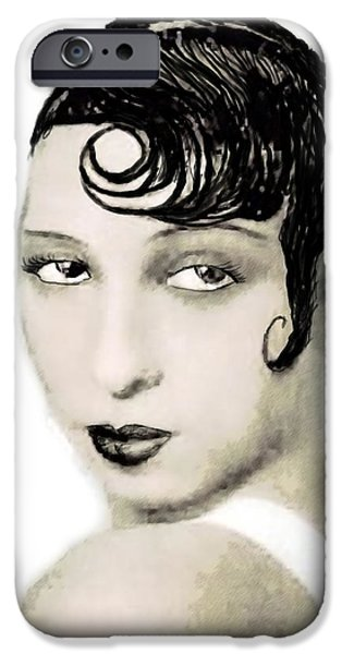 African-american Drawings iPhone Cases - Josephine Baker draw iPhone Case by Joaquin Abella