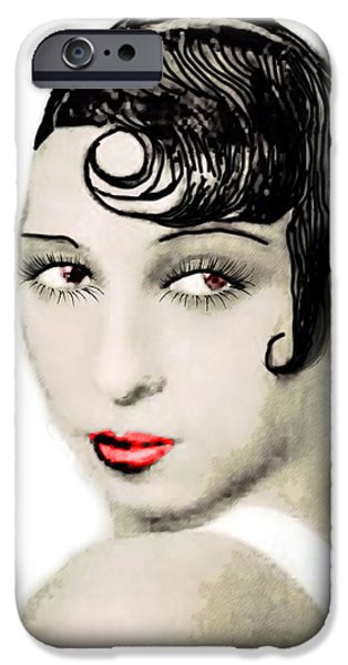 African-american Drawings iPhone Cases - Josephine Baker drawing iPhone Case by Joaquin Abella