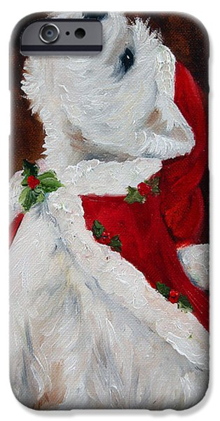 Cute Puppy iPhone Cases - Joy to the World iPhone Case by Mary Sparrow