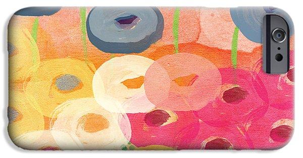 Floral Mixed Media iPhone Cases - Joyful Garden 3 iPhone Case by Linda Woods