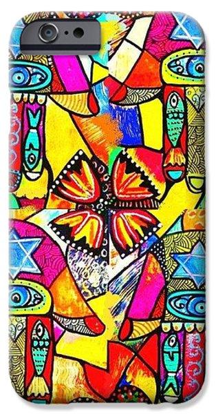Judaica Hamsa Flower Tapestry iPhone Case by Sandra Silberzweig