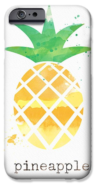 Healthy Mixed Media iPhone Cases - Juicy Pineapple iPhone Case by Linda Woods