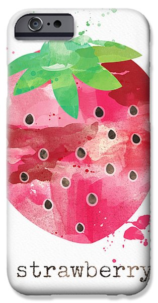 Healthy Mixed Media iPhone Cases - Juicy Strawberry iPhone Case by Linda Woods