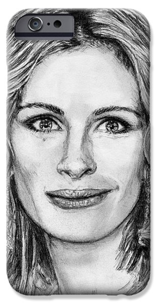 Celebrities Art iPhone Cases - Julia Roberts in 2008 iPhone Case by J McCombie