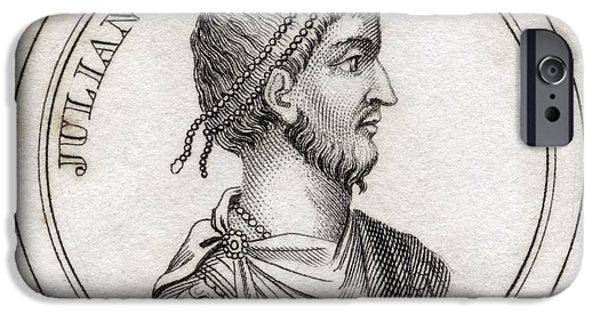 Flavius iPhone Cases - Julian The Apostate Flavius Claudius iPhone Case by Vintage Design Pics