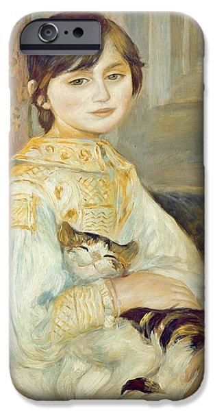 Renoir iPhone Cases - Julie Manet with Cat iPhone Case by Pierre Auguste Renoir