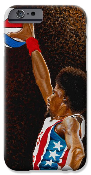 Dr. J Paintings iPhone Cases - Julius iPhone Case by Dino Murphy