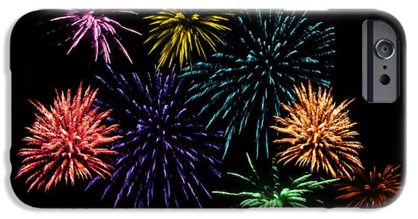 Fourth Of July iPhone Cases - July Fireworks Montage iPhone Case by Terri Harper