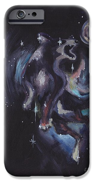 Constellation Paintings iPhone Cases - Jumping dog constellation iPhone Case by Robin Wiesneth