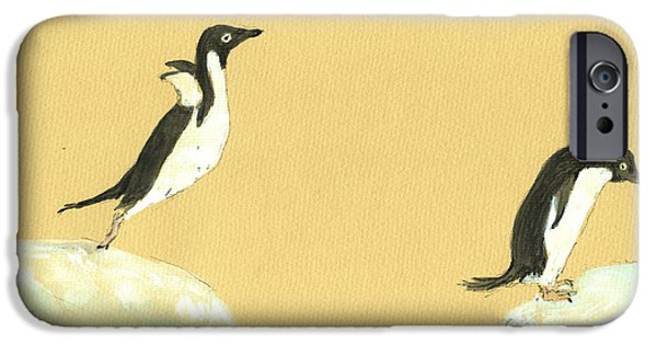 Sea Birds Paintings iPhone Cases - Jumping penguins iPhone Case by Juan  Bosco