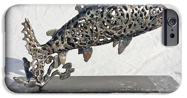 Transportation Sculptures iPhone Cases - Jumping Trout iPhone Case by Pierre Riche