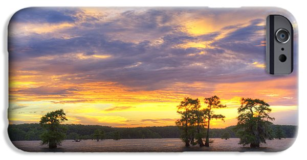 Caddo Lake iPhone Cases - June Sunset at Caddo Lake 3 iPhone Case by Rob Greebon