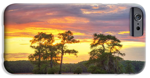 Caddo Lake iPhone Cases - June Sunset at Caddo Lake 5 iPhone Case by Rob Greebon